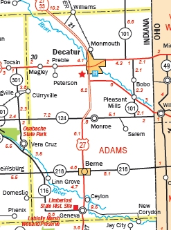 Adams County Indiana - Map